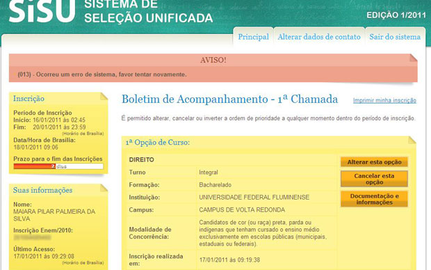 IMAGEM - Login no SiSU 2011 dá acesso a contas de outros alunos