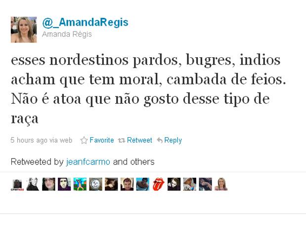 Usuária envia mensagem de preconceito contra nordestinos no Twitter