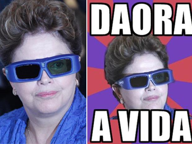 Dilma vira brincadeira na internet ao usar óculos 3D