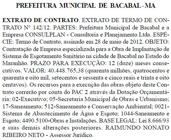 Prefeito de Bacabal assina contrato de mais de R$ 40 milhões