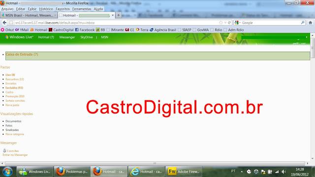 Problemas para acessar e-mail do Hotmail – Página da caixa de entrada aparece deformada
