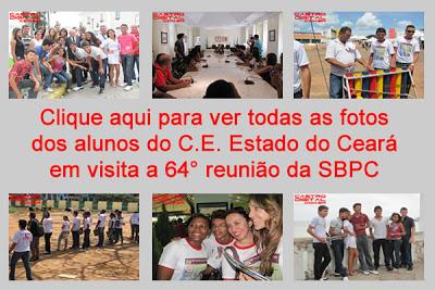 Fotos de alunos de Bacabal em visita a 64° reunião da SBPC em São Luis