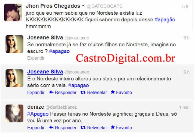 Apagão faz usuários do Twitter discriminarem o Nordeste
