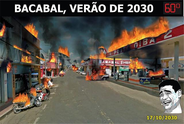 Temperatura em Bacabal no verão do ano 2030 será de 60°C