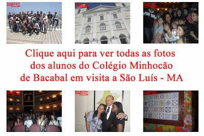 Fotos dos alunos do Colégio Minhocão em São Luis na culminância de projeto sobre história do Maranhão