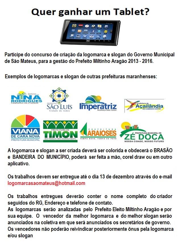 Novo prefeito de São Mateus do MA realiza concurso para escolha de logomarca e slogan