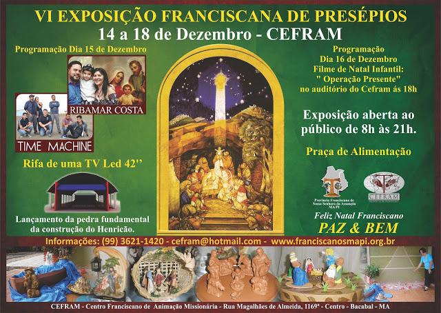 Convite para exposição de presépios 2012 do CEFRAM de Bacabal