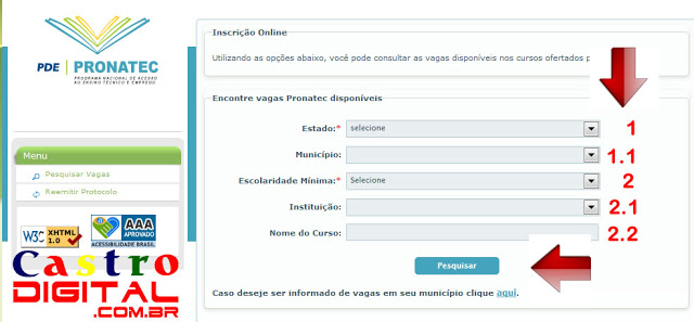 Inscrições para cursos grátis no Pronatec 2013 – Tutorial ilustrado de como se inscrever