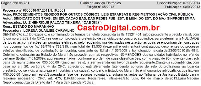 Justiça determina nomeação de professores excedentes do concurso de 2009 para rede estadual do Maranhão