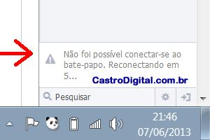 Problema no bate-papo do Facebook desconectado (fora do ar) na noite desta sexta-feira (7)