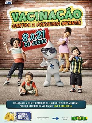 Campanha de vacinação contra paralisia infantil 2013 acontece de 8 a 21 de junho