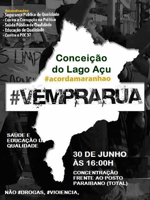 Convite para a 1º Manifestação Vem Pra Rua em Conceição do Lago Açu – MA