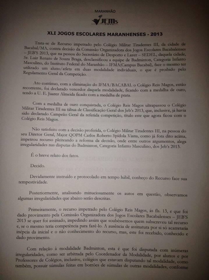 Colégio Militar é campeão dos Jogos Escolares de Bacabal 2013 após julgamento de recurso