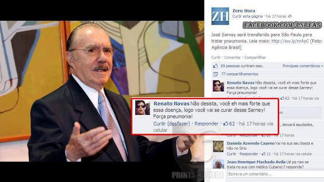 José Sarney é declarado morto e diversas pessoas pedem sua morte na internet