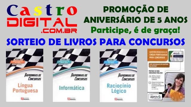 Sorteio de livros para concursos na promoção de aniversário de 5 anos do Castro Digital