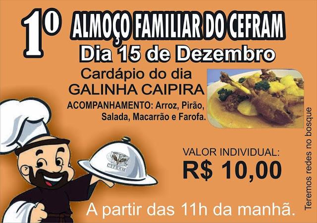 Convite para o 1º Almoço Familiar do CEFRAM em Bacabal – MA