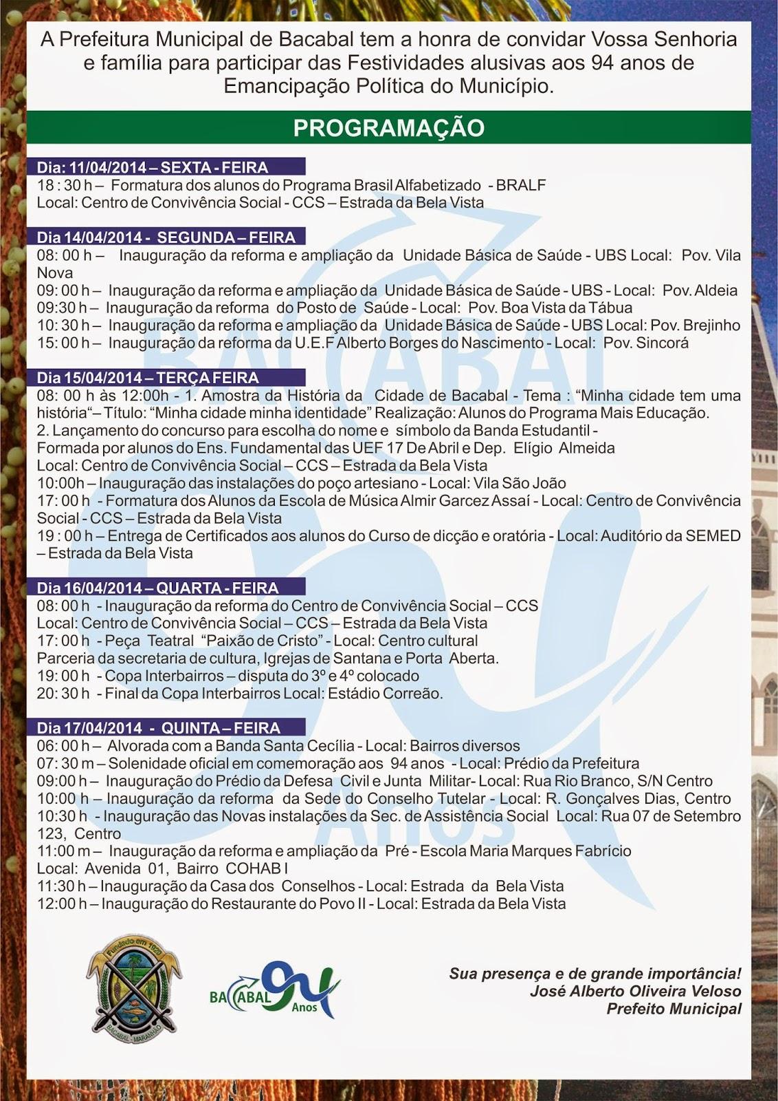 Programação oficial do aniversário de 94 anos da cidade de Bacabal – MA
