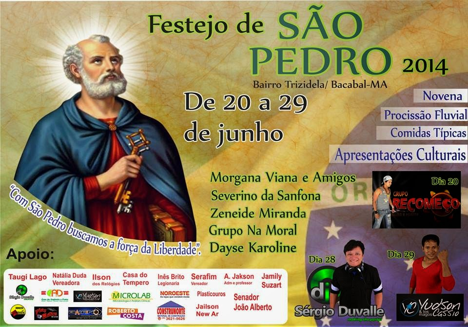 Convite para o festejo de São Pedro 2014 na Trizidela em Bacabal – MA