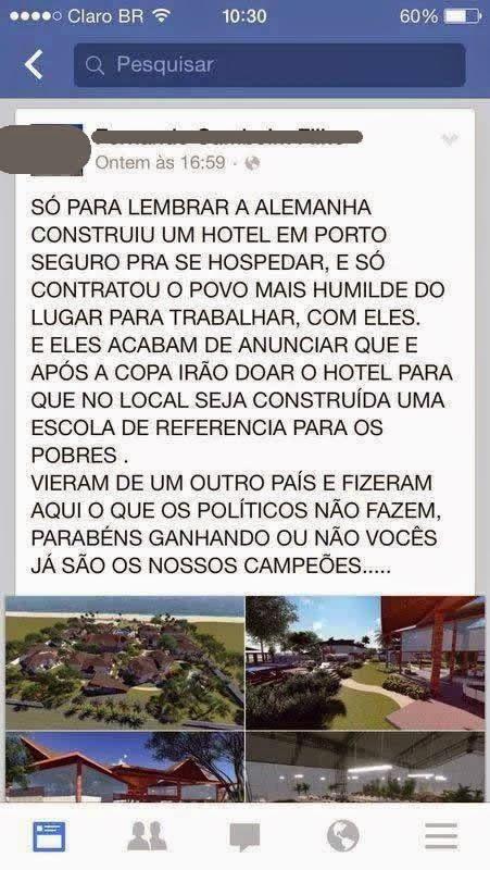 É mentira: seleção da Alemanha não doa hotel para comunidade na Bahia