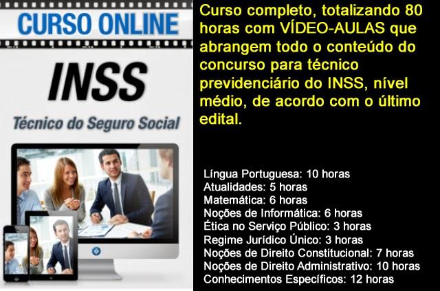 Curso on line em vídeo-aula para o concurso do INSS