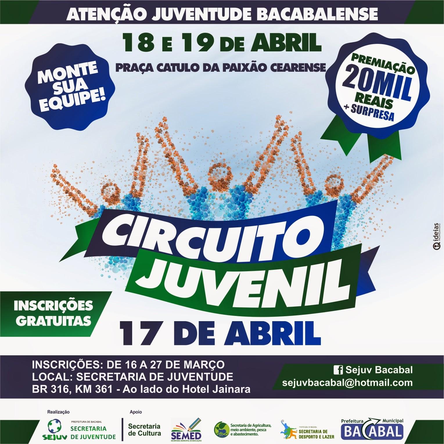 Inscrições para a gincana Circuito Juvenil 2015 em Bacabal com premiação de R$ 20 mil