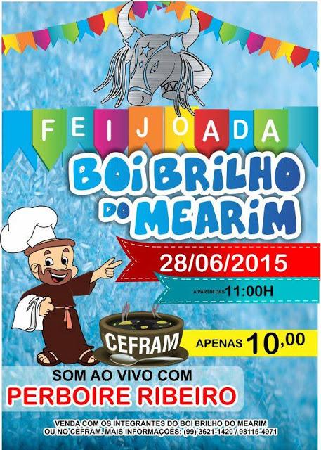 Convite para a feijoada do Boi Brilho do Mearim neste domingo (28)