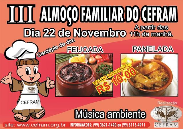 Convite para o 3º Almoço Familiar do CEFRAM em Bacabal – MA