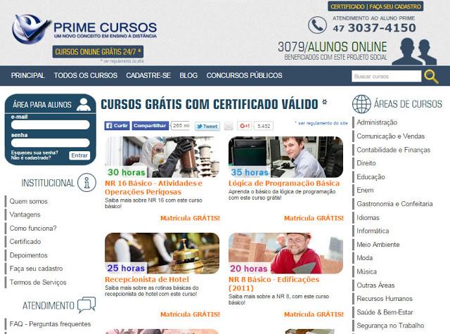 Inscrições para cursos grátis on line com certificado na Prime Cursos do Brasil
