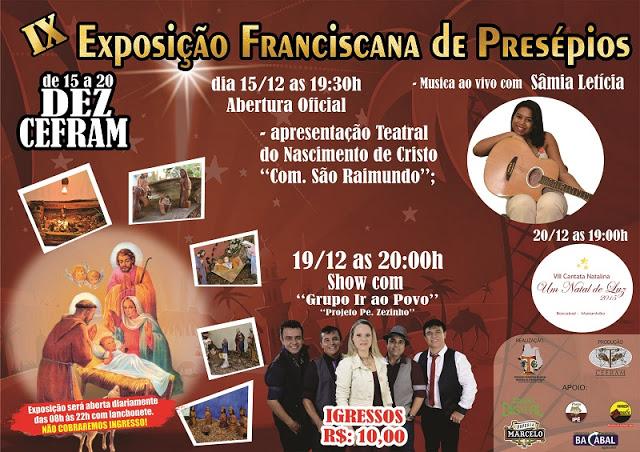 Convite para a IX Exposição Franciscana de Presépios no CEFRAM em Bacabal – MA