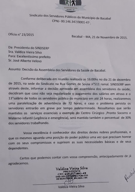Servidores da saúde de Bacabal ameaçam greve se Zé Alberto não pagar salários atrasados há meses
