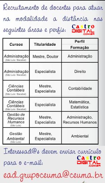 Vagas de emprego na Universidade CEUMA de Bacabal e São Luis para atuar na EaD