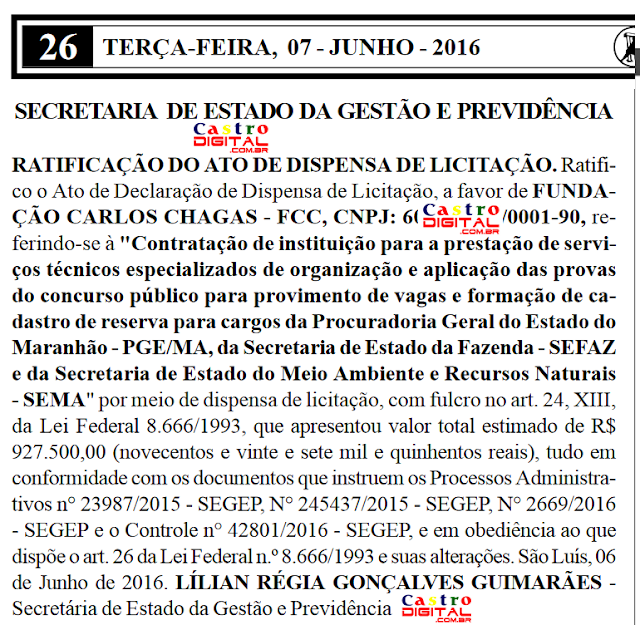 3 concursos no Maranhão para 2016 já têm banca organizadora definida: Sefaz-MA, PGE-MA e SEMA, editais mais perto de serem publicados