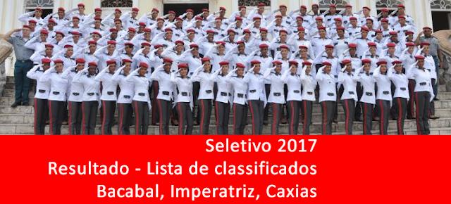 Resultado do seletivo 2017 do Colégio Militar Tiradentes de Bacabal, Caxias e Imperatriz