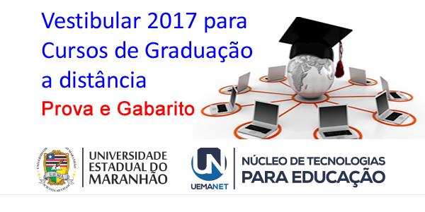 Gabarito oficial e prova do vestibular 2017 da UEMANET para cursos de graduação a distância