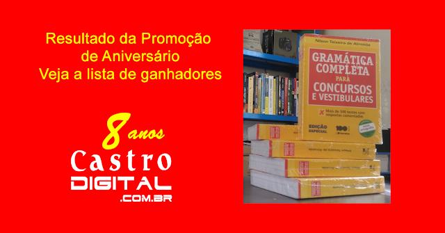Resultado do sorteio de livros para concursos e vestibulares na promoção de aniversário de 8 anos do Castro Digital – Veja a lista de ganhadores