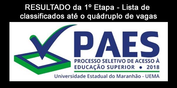 Resultado da 1º etapa do PAES 2018 – Vestibular da UEMA e UEMASUL – Lista de candidatos classificados até o quádruplo de vagas