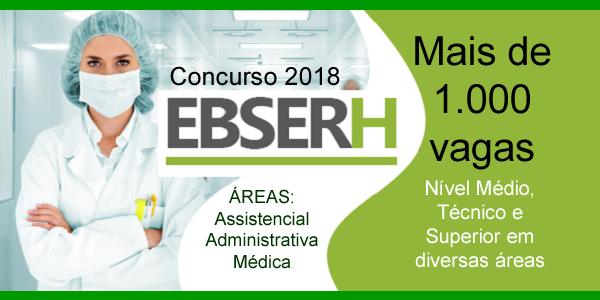 Editais do concurso 2018 da EBSERH com mais de 1.000 vagas para nível médio, técnico e superior em diversas áreas