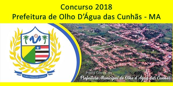 Edital do concurso 2018 da Prefeitura de Olho d'Água das Cunhãs – MA