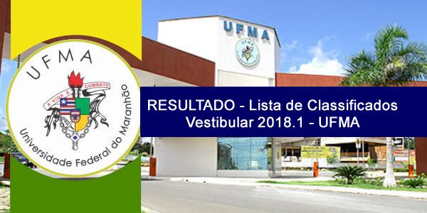 Resultado do Vestibular 2018.1 da UFMA para cursos de graduação a distância (EaD) – Lista de classificados