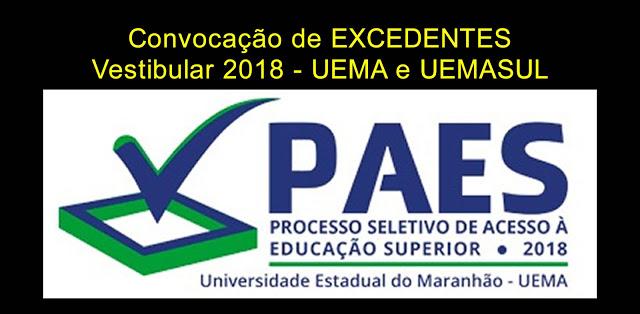 Convocação de excedentes do vestibular PAES 2018 – UEMA e UEMASUL para matrícula no segundo semestre 2018.2