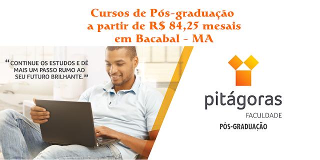 Bolsas de pós-graduação na Pitágoras de Bacabal para 2019.1 com até 55% de desconto