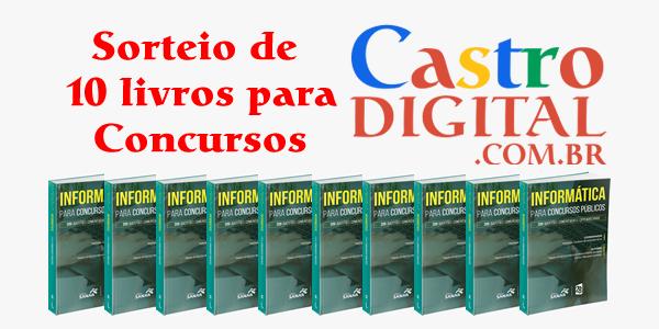 Sorteio de livros para concursos no aniversário de 10 anos do Castro Digital