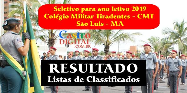 Resultado do seletivo 2019 do Colégio Militar Tiradentes de São Luis – MA