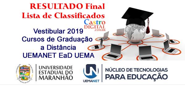 Resultado final do vestibular 2019 da UEMANET – Lista de classificados para cursos de graduação a distância – EaD UEMA e consulta de desempenho individual