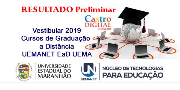 Resultado preliminar do vestibular 2019 da UEMANET para cursos de graduação a distância – EaD UEMA