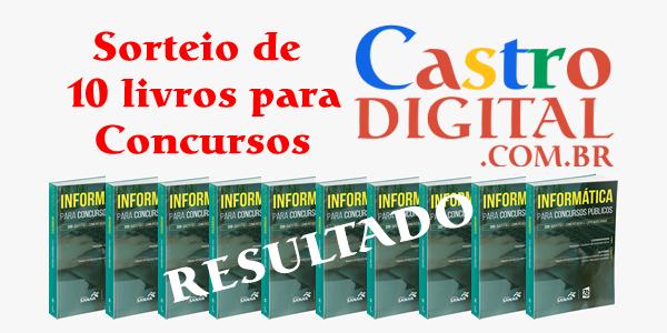 Resultado do sorteio de livros para concursos no aniversário de 10 anos do Castro Digital