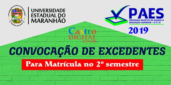 Convocação de excedentes do vestibular PAES 2019 – UEMA e UEMASUL para matrícula no segundo semestre 2019.2