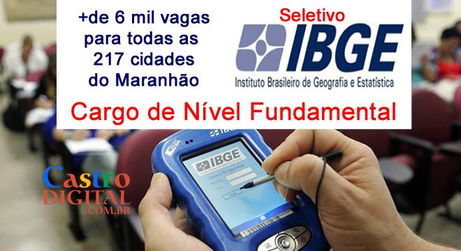 Edital do SELETIVO do IBGE para nível FUNDAMENTAL terá mais de 6 mil VAGAS para o MARANHÃO (todas as cidades)