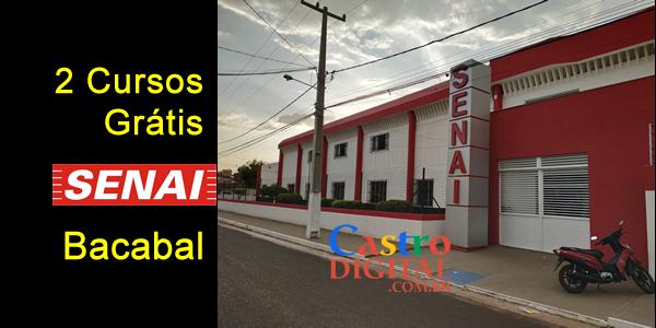 Inscrições para 2 CURSOS grátis no SENAI de BACABAL – Edital 06/2019
