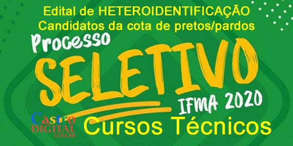 Edital de heteroidentificação do seletivo 2020 do IFMA de candidatos pretos e pardos dos cursos técnicos – LISTA de convocados